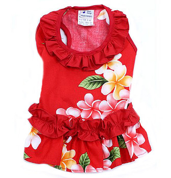 Red Flower Ruffle Hawaiian Dog Dress