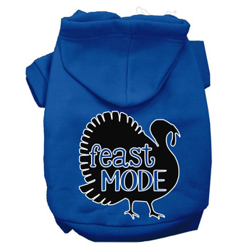 Feast Mode Screen Print Dog Hoodie Blue