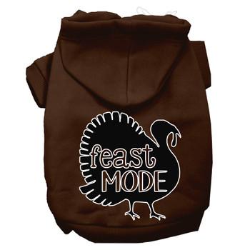 Feast Mode Screen Print Dog Hoodie Brown