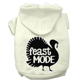 Feast Mode Screen Print Dog Hoodie Cream