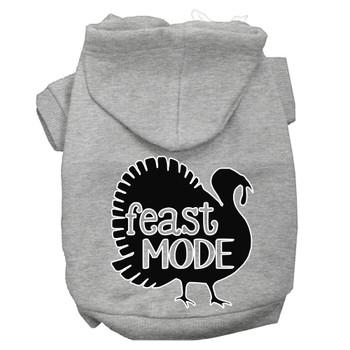 Feast Mode Screen Print Dog Hoodie Grey