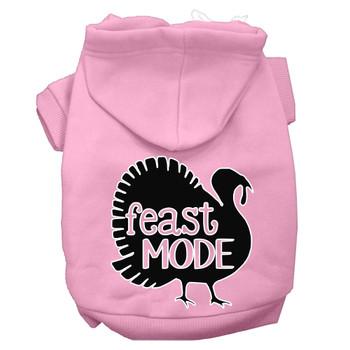 Feast Mode Screen Print Dog Hoodie Light Pink