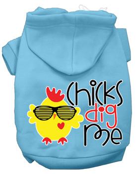 Chicks Dig Me Screen Print Dog Hoodie - Baby Blue