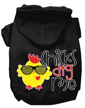 Chicks Dig Me Screen Print Dog Hoodie - Black