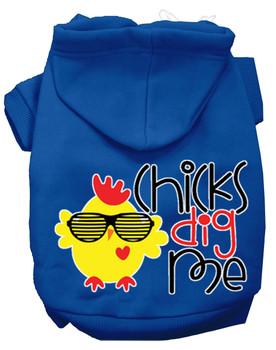Chicks Dig Me Screen Print Dog Hoodie - Blue