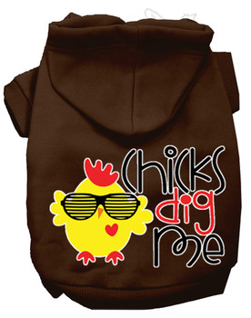 Chicks Dig Me Screen Print Dog Hoodie - Brown
