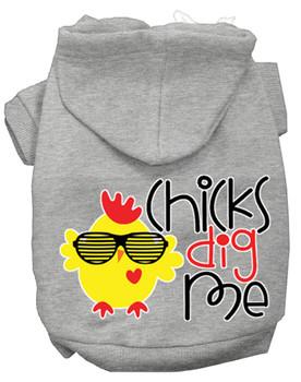 Chicks Dig Me Screen Print Dog Hoodie - Grey