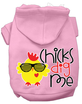 Chicks Dig Me Screen Print Dog Hoodie - Light Pink Xs