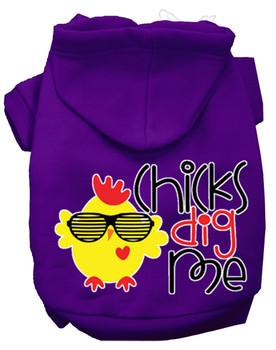 Chicks Dig Me Screen Print Dog Hoodie - Purple