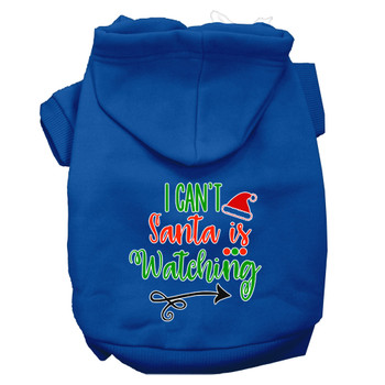 I Can't, Santa Is Watching Screen Print Dog Hoodie - Blue