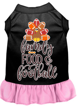 Family, Food, And Football Screen Print Dog Dress - Black With Light Pink