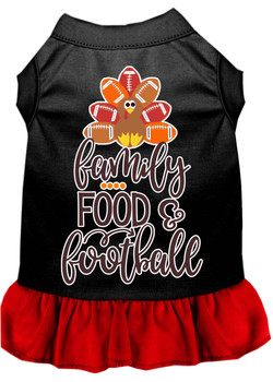Family, Food, And Football Screen Print Dog Dress - Black With Red