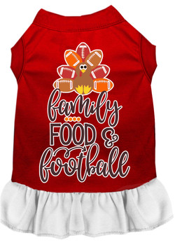 Family, Food, And Football Screen Print Dog Dress - Red With White