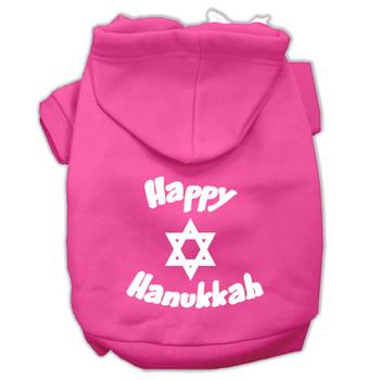 Happy Hanukkah Screen Print Pet Hoodies - Bright Pink