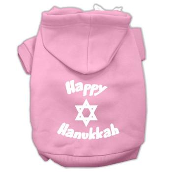 Happy Hanukkah Screen Print Pet Hoodies - Light Pink