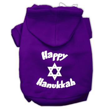 Happy Hanukkah Screen Print Pet Hoodies - Purple
