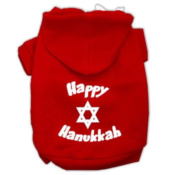 Happy Hanukkah Screen Print Pet Hoodies - Red