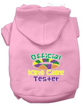 King Cake Taster Screen Print Mardi Gras Dog Hoodie - Light Pink