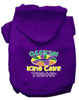 King Cake Taster Screen Print Mardi Gras Dog Hoodie - Purple