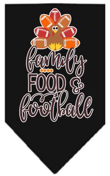 Family, Food, And Football Screen Print Bandana - Black