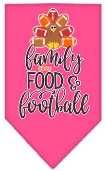 Family, Food, And Football Screen Print Bandana - Bright Pink
