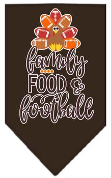 Family, Food, And Football Screen Print Bandana - Cocoa Brown