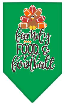 Family, Food, And Football Screen Print Bandana - Emerald Green