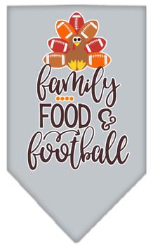 Family, Food, And Football Screen Print Bandana - Grey
