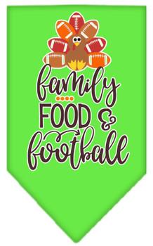 Family, Food, And Football Screen Print Bandana - Lime Green