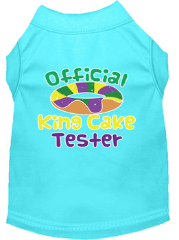 King Cake Taster Screen Print Mardi Gras Dog Shirt - Aqua