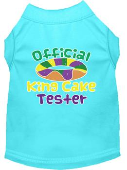 King Cake Taster Screen Print Mardi Gras Dog Shirt - Aqua