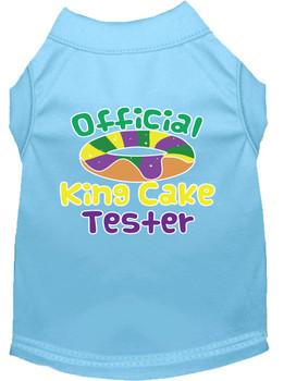 King Cake Taster Screen Print Mardi Gras Dog Shirt - Baby Blue