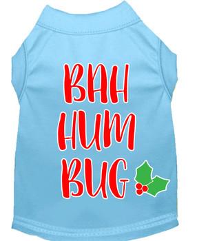 Bah Humbug Screen Print Dog Shirt - Baby Blue