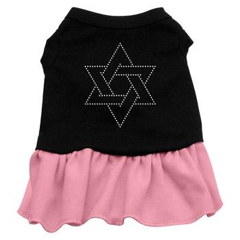 Star Of David Rhinestone Dress - Black With Pink