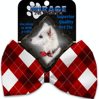 Candy Cane Argyle Pet Bow Tie