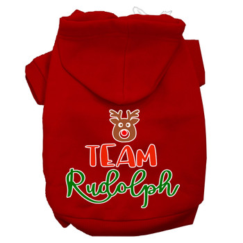 Team Rudolph Screen Print Dog Hoodie - Red