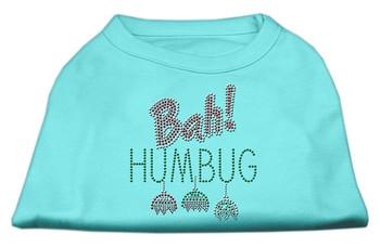 Bah Humbug Rhinestone Dog Shirt - Aqua