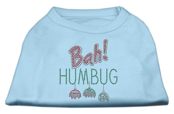 Bah Humbug Rhinestone Dog Shirt - Baby Blue