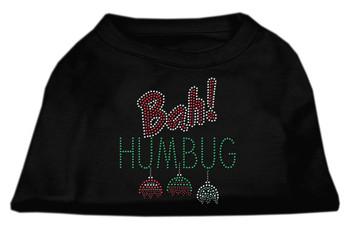 Bah Humbug Rhinestone Dog Shirt - Black