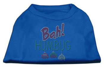Bah Humbug Rhinestone Dog Shirt - Blue