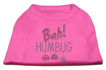 Bah Humbug Rhinestone Dog Shirt - Bright Pink