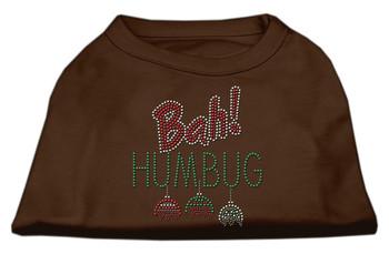 Bah Humbug Rhinestone Dog Shirt - Brown