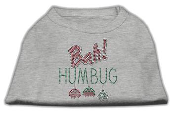 Bah Humbug Rhinestone Dog Shirt - Grey
