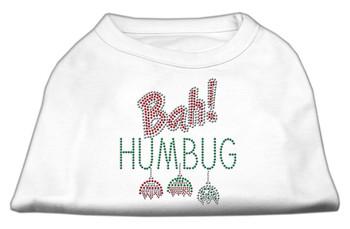 Bah Humbug Rhinestone Dog Shirt - White