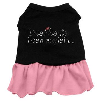 Dear Santa Rhinestone Dress - Black With Pink
