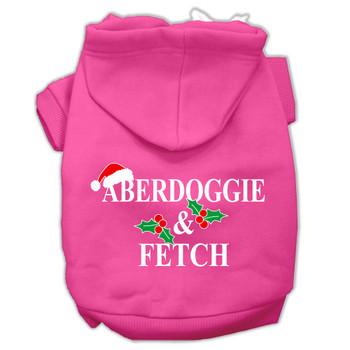 Aberdoggie Christmas Screen Print Pet Hoodies - Bright Pink