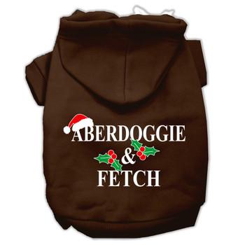 Aberdoggie Christmas Screen Print Pet Hoodies - Brown