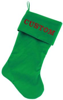 Custom Embroidered Velvet Christmas Stocking - Green