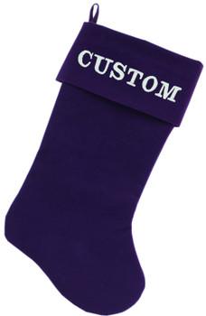 Custom Embroidered Velvet Christmas Stocking - Purple