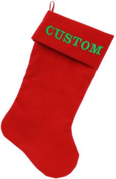 Custom Embroidered Velvet Christmas Stocking - Red